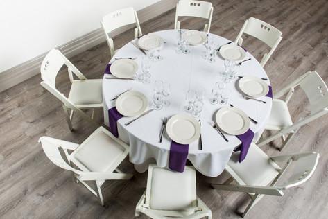 White Table + Purple Napkins