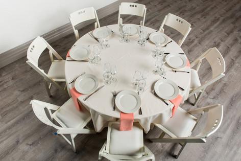 Ivory Table + Peach Napkins
