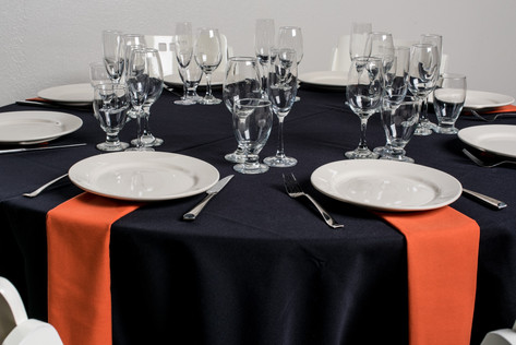Black Table + Burnt Orange Napkins