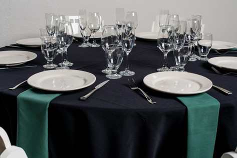Black Table + Forest Green Napkins