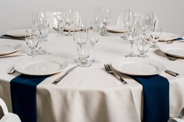 Ivory Table + Navy Napkins
