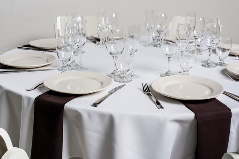 White Table + Brown Napkins