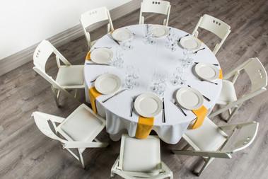 White Table + Gold Napkins