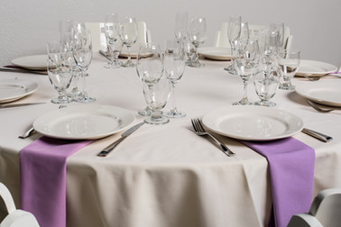 Ivory Table + Violet Napkins