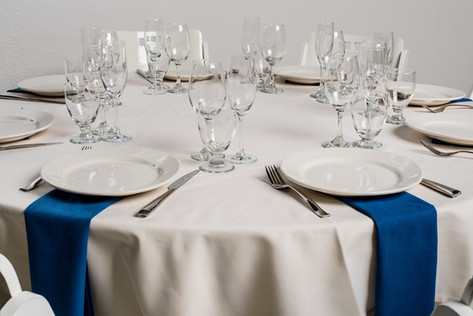 Ivory Table + Royal Blue Napkins