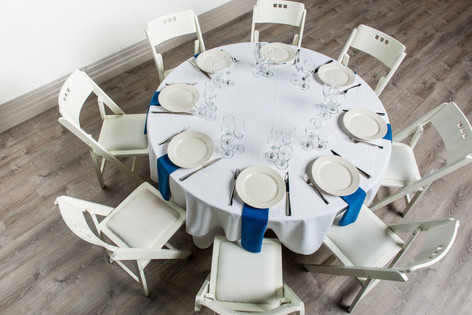 White Table + Royal Blue Napkins