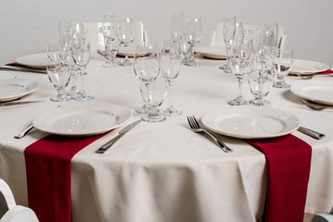 Ivory Table + Red Napkins