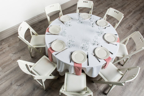White Table + Dusty Rose Napkins