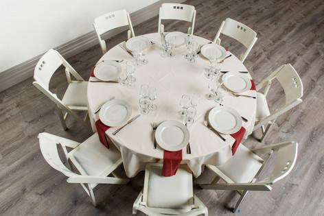 Ivory Table + Rust Napkins