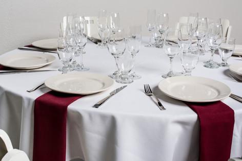White Table + Burgundy Napkins