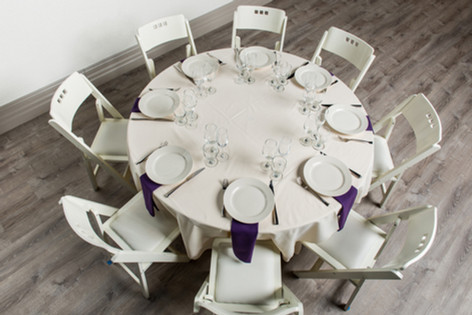 Ivory Table + Purple Napkins