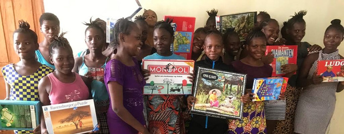 Some of the board games that have been donated to the girls and sent by container.