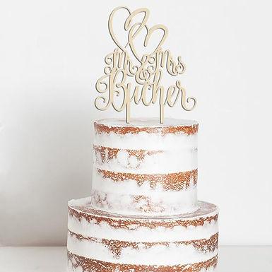 CakeTopper - Tortenstecker Mr & Mrs Doppelherz Hochzeit Wedding Hearts