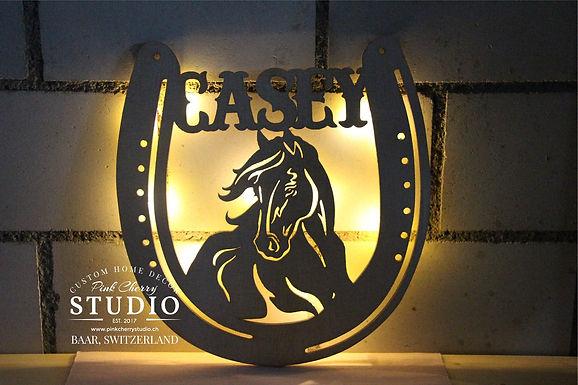 LED Nachtlicht Pferde Kopf mit Hufeisen