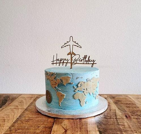HAPPY BIRTHDAY - FLUGZEUG - WELTREISE CAKETOPPER - TORTENSTECKER PERSONALISIERT