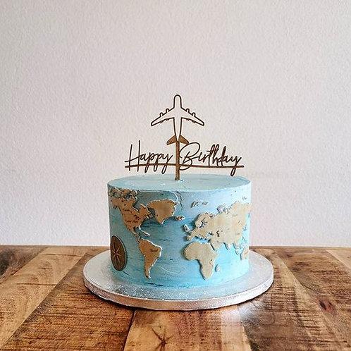 HAPPY BIRTHDAY - FLUGZEUG - WELTREISE CAKETOPPER – TORTENSTECKER
