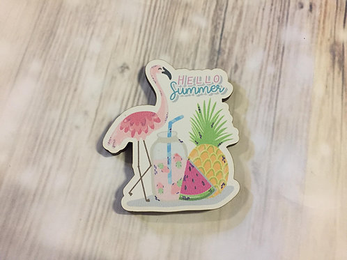 Holz Magnet - HELLO SUMMER - FLAMINGO