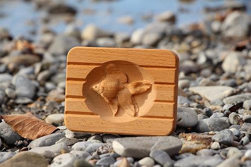 Seifenschale aus Holz - Fisch inkl 3 Marseille Seifen 125 g