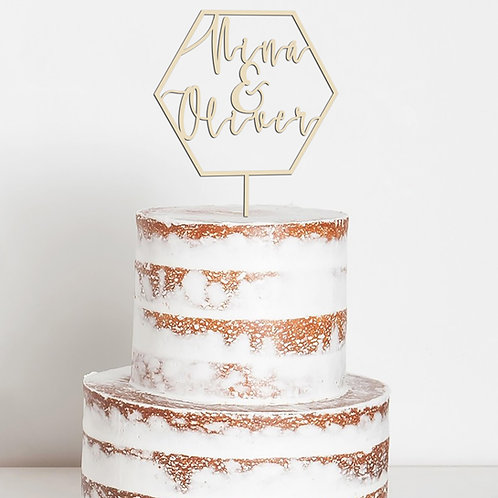 CakeTopper - Tortenstecker Hochzeit Personalisiert - Sechs Eck