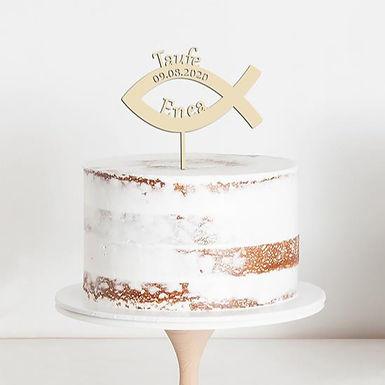CakeTopper - Tortenstecker Religion Taufe - Fisch Symbol - Personalisiert