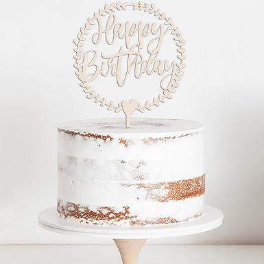 HAPPY BIRTHDAY KRANZ - WREATH - CAKE TOPPER - TORTENSTECKER