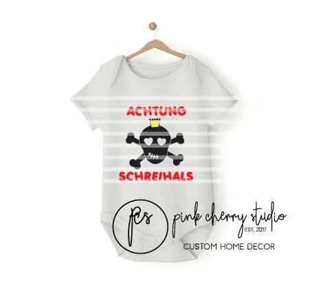 Achtung Schreihals - Totenkopf - Baby Body - Plotterdatei - Gewerbliche Lizenz