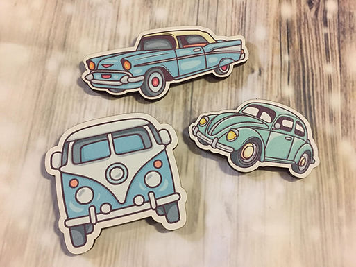 Holz Magnet -Retro cars 3-er Set