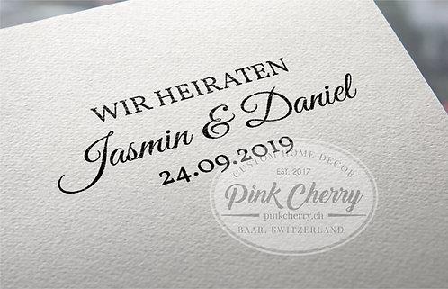 Holzstempel - Wir Heiraten - Personalisiert