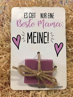 Say it with Soap - Holzkarte mit Seife -Es gibt nur eine beste Mama