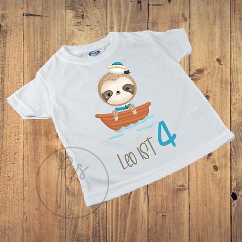 Kinder T-Shirt - Faultier - Matrose - Geburtstag - Personalisiert