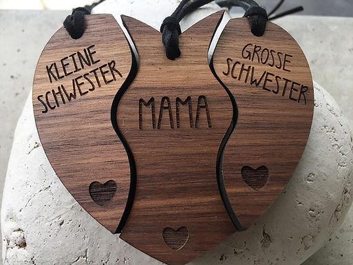 Holzanhänger - Kleine Schwester, Grosse Schwester Mama - 3er Set