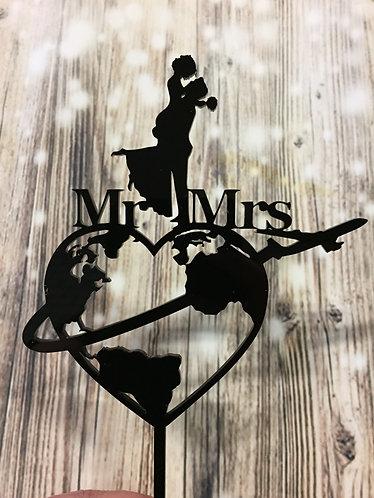 Mr & Mrs Hochzeit Paar - Weltreise - Flitterwochen  - Flugzeug Cake Topper
