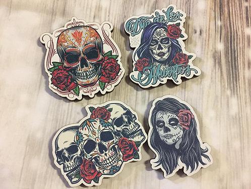 Holz Magnet -Dia de Los Muertos - Skulls - 4-er Set