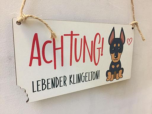 Achtung Lebender Klingelton - Schild - Hundeschild - lustig