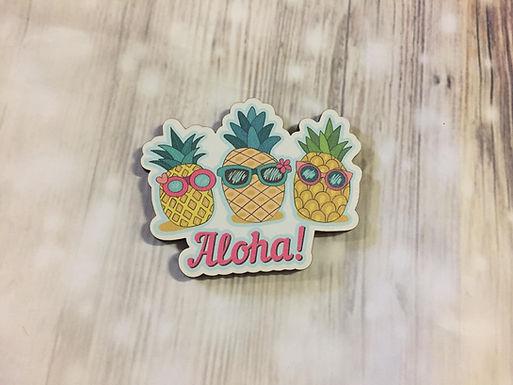 Holz Magnet - Aloha - Ananas