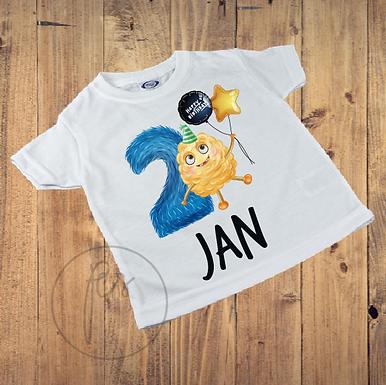 Kinder T-Shirt - Monster Geburtstag 2 Jahr - Personalisiert