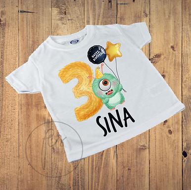 Kinder T-Shirt - Monster Geburtstag 3 Jahr - Personalisiert