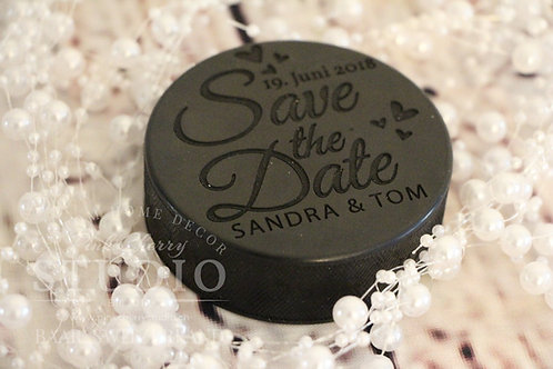 Gravierter Hockey Puck - Save the Date