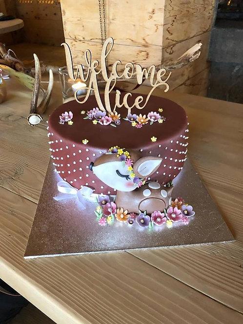 "CakeTopper - Tortenstecker ""Welcome"" Geburt"