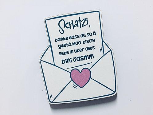 Liebesbrief - Loveletter Holz Magnet - Liebe - Valentinstag - Personalisiert