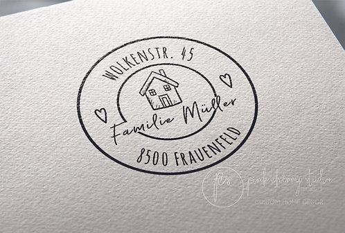 Adressstempel Typo 57 - Haus - Herzen
