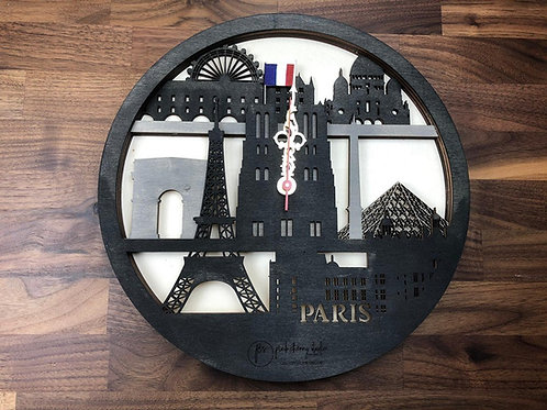 Paris Skyline Uhr inkl Holzbox
