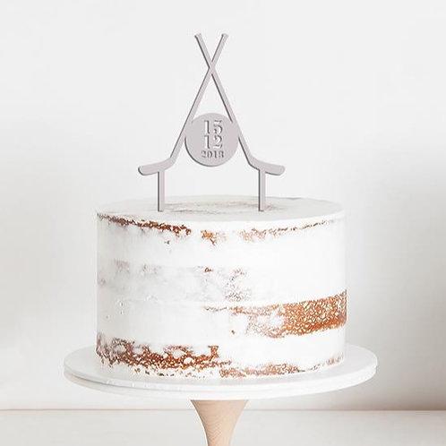 CakeTopper - Tortenstecker Eishockey - Puck - Hockeyschläger