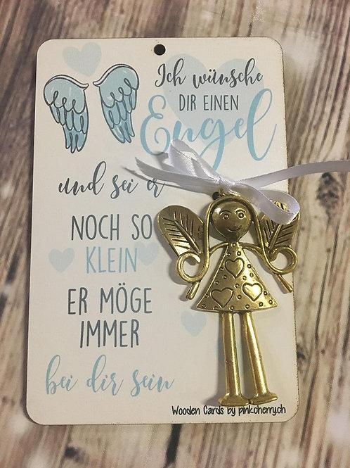 Holzkarte - Ich Wünsch dir einen Engel - Silber