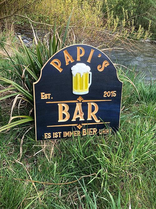 Vintage Stil Papi's Bar - Es ist immer Bier Uhr Schild