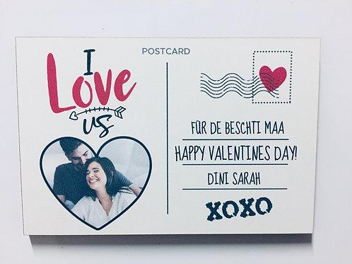 Postkarte - Valentinstag Holz Magnet - Personalisiert mit Foto