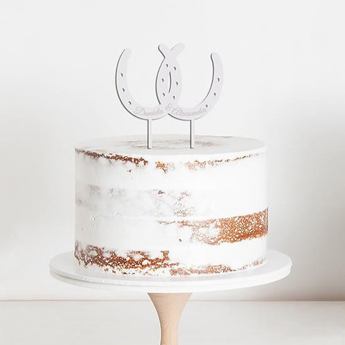 CakeTopper - Tortenstecker Hochzeit Hufeisen - Wedding - Personalisiert