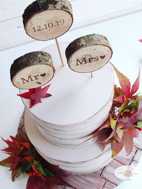CakeTopper - Tortenstecker Holzscheiben Mr & Mrs