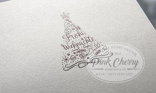 Holzstempel - Frohi Wiehnachte - Weihnachtsbaum