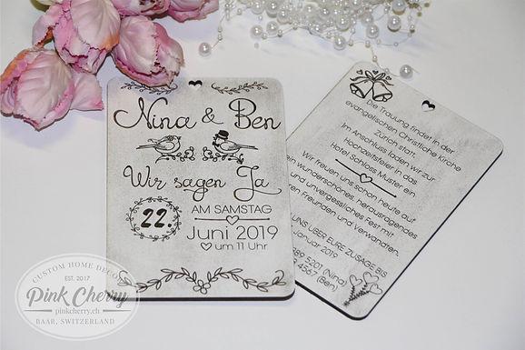 Hochzeitseinladung - Graviert auf Holz - Beidseitig